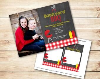 Barbecue- Party Invitation - BBQ Birthday - Backyard BBQ - Barbeque Invitation - PRINTABLE Photo Invitation and Thank You Card
