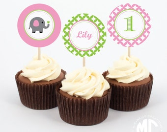 Little Elephant Prinrable Digital Party Circles / Cupcake Toppers - Mirabelle Creations
