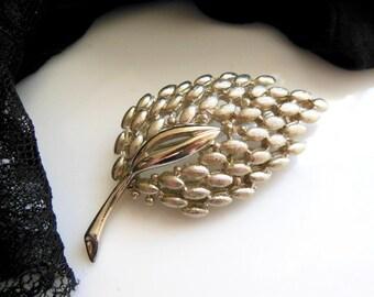 Vintage Large Textured Silver Tone Metal Modernist Spring Leaf Brooch Pin