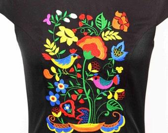 Urban Dress , Embroidery Dress , Bohemian Embroidery Dress , Boho flower Dress , Folk embroidery flower Dress , Bridesmaid dress