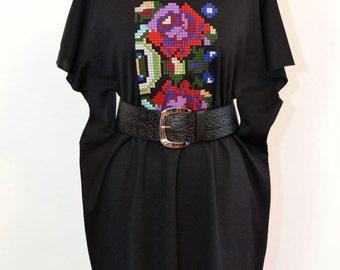 NEW Black fine wool Flower Dress Embroidery Folk flower Dress Stage Woman dress Teen girl flower dress