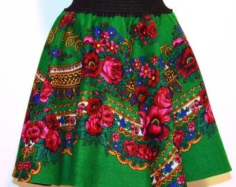 Green Gipsy Skirt , Flower print Skirt , Folk Skirt , Etno green skirt , Bohemian green skirt , Urban folk skirt