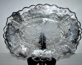 vintage glass and silver leaf platter   grape center design  heavy  silver leaf  dessert  tray