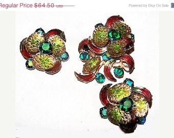 Designer Brooch Earring Demi Set Judy Lee Green Givre & Pink Crescent Rhinestones Gold Metal Vintage