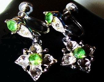 "Bogoff Designer Dangle Earrings Mint Green & Clear Rhinestones Silver Metal 1 1/4"" Vintage"