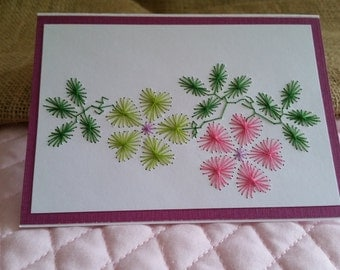Stitched Pink and Green Flower Card