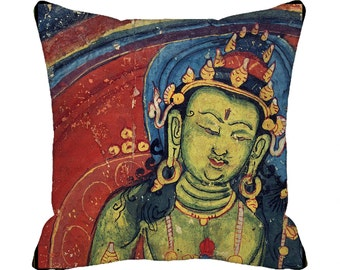 READY MADE Decorative Throw Pillow Cover 18 x 18 inch  Boho Buddha Bohemian Accent Pillow Cover  Asian Art Pillow  red blue green gold