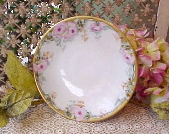 Lovely Limoges Porcelain Salad Plate With Beautiful Hand Painted Pink Roses