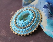 Blue Gold Brooch Embroidery Brooch Bead embroidered Brooch Beadwork Brooch Cabochon Brooch Glass beads Brooch Blue Gold Jewelry Gift idea
