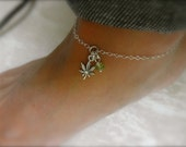 Cannabis leaf ankle bracelet with peridot dangle - 925 sterling silver - weed anklet - marijuana charm anklet -