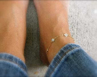 Multi  gold CZ ankle bracelet   - cz charm - cz  gold vermeil framed charm - multi cz charms -  gold ankle bracelet -