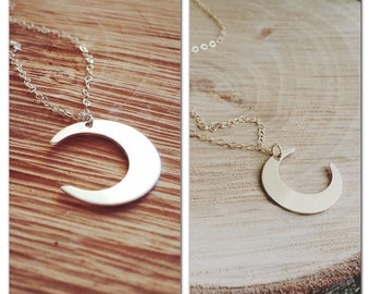 Moon necklace, Crescent Moon Necklace, Crescent Moon, Available in Sterling Silver and 14K Gold filled, Modern Jewelry, Everyday Jewelry