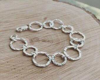 Sterling Silver Hammered Link Bracelet /Silver Chain Bracelet / Silver Circle Bracelet /Everyday Jewelry /Mothers Gift/  Wife Gift