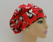 Mini - Chemo Cap - Nurses Hat - European Style - Betty Boop -Stamped Lips -Red