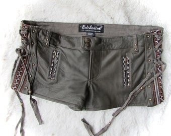ON SALE!! leather steampunk shorts  leather tribal shorts biker pixie style burning man