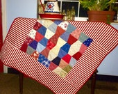 Red White and Blue Baby blanket Quilt