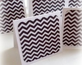 simple black and white chevron handmade mini note cards or lunch box note thank you notes gift wrap cards set of 8 with pocket envelopes