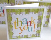 blank thank you handmade mini greeting cards green plaid thank you notes Set of 8 handmade mini cards packaging cards thank you greetings