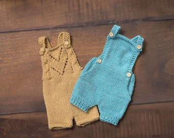Set of 2 handknitted baby overalls