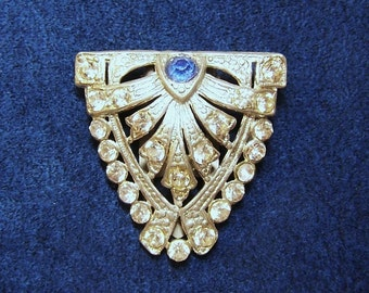 1920s ART DECO CLIP - Set with One Blue & 24 Clear Glass Rhinestones