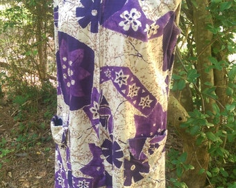 60s LORD & TAYLOR PURPLE Abstract Floral Dress/Cover-up...Ala Twiggy!