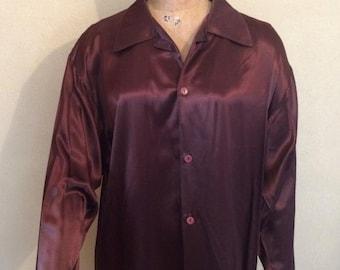 Men's shiny long sleeve brown large dress shirt. Large collar