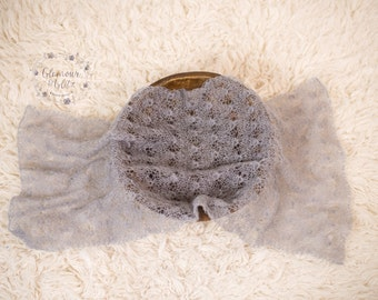 Newborn Mohair Knit Wrap, Mohair Wrap, Stretch Wrap, Lace Wrap, Ready To Ship, Photography Prop, Medium Grey - Sophia