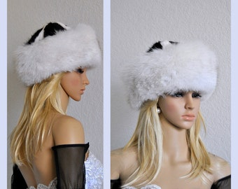 FINAL 30%OFF White Fox Fur Hat, Real Fur, Cuff, Bridal Wedding, Winter Hats, Arctic Fur, Eskimo style, Womens Bridal Headwear, Accessories