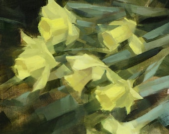 "Archival 8"" x 10"" Art Print / Free Shipping / ""Daffodil Hill, Brooklyn Botanic Gardens (no.107)"" Oil Painting Floral Realism"