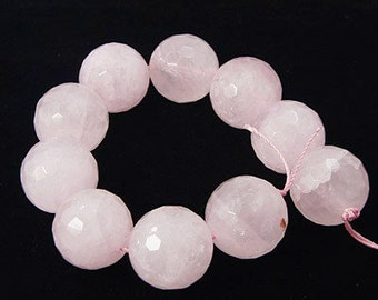 "Natural Rose Quartz Gemstone Bead Strand, Faceted, 4mm, 8"" strand, 46pcs/strand, Free Shipping within USA"