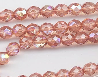 One 16-inch strand (about 50 beads) 8 mm dark salmon AB glass firepolished beads 521
