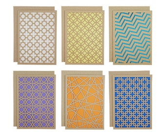 Geometric Pattern Laser Cut Card Set