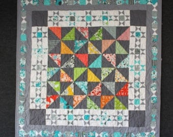 Modern Wallhanging or Small Handmade Quilt in Bright Happy Colors