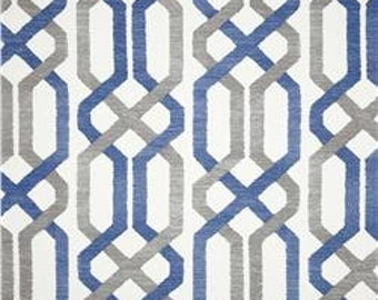 Blue, Grey and Ivory Geometric Pillow Cover in P Kaufmann Fabric