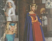 Simplicity 8728 Medieval Costume Pattern Uncut Cape and Headpieces