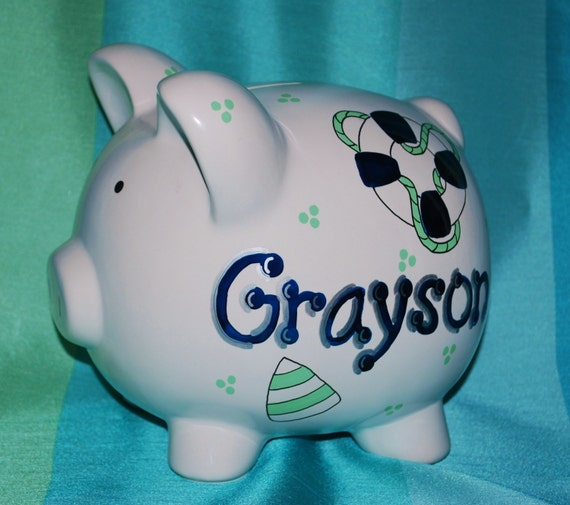 Items similar to piggy bank large ceramic blue green nautical hand painted and personalized - Nautical piggy banks ...