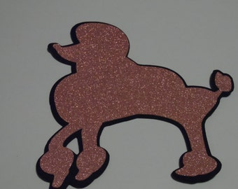 Pink glitter and black poodles Birthday party, decor, wedding, scrapbooking , card making , emblishments