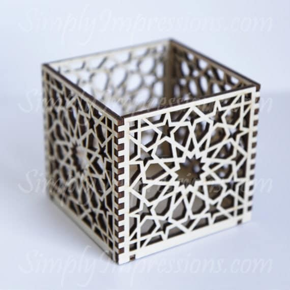 Geometric wood box laser cut out for Laser cut wood box template