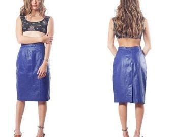 Vintage 90s 80s high waisted Indigo Purple Blue Leather Midi Mid Length Pencil Skirt S M