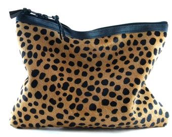 Back In Stock - Spotted ll Calf Hair Leather Statement Clutch | Cheetah Clutch | Leopard Clutch | Hair On | Animal Print Bag | Fur |Handmade