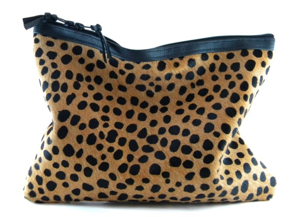 ON SALE - 1 Left! Spotted ll Calf Hair Leather Statement Clutch | Cheetah Clutch | Leopard Clutch | Hair On | Animal Print Bag |Handmade
