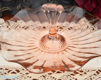 ON SALE Pink Depression Glass Center Handle Tray, Serving Dish, Tidbit Tray,  ca. 1930-