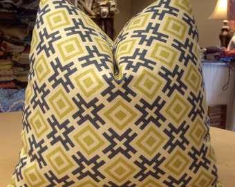 "Lee Jofa / Groundworks / David Hicks Teal Lime ""HICKSONIAN"" Geometric Linen Print Custom Pillows Pair - Lime Green Cotton Back - 20"" Square"