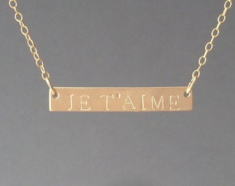 Personalized Gold Bar Nameplate Necklace Gold Rose Gold or Silver
