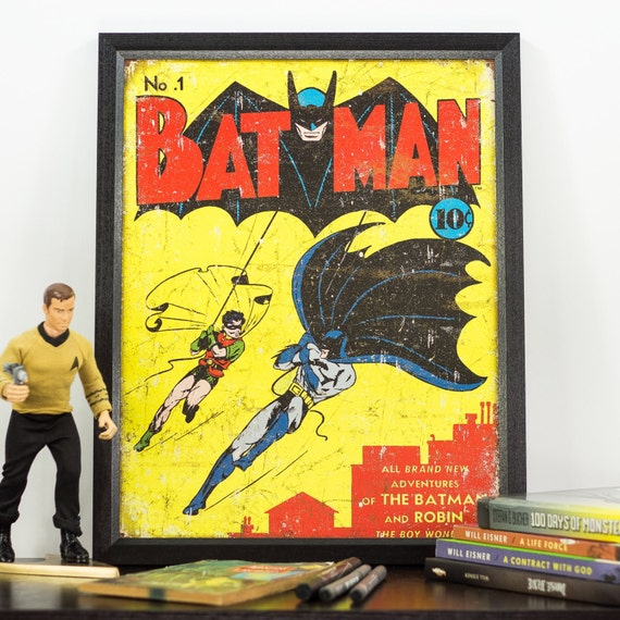 Retro Superhero Art: Vintage Superhero Batman Tin Sign Art 5051216ART56A By