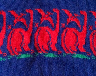Vintage 60s 70s Dinosaur Sweater for Kids 5T / Rare