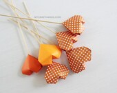 SALE 15% OFF . 6 origami heart cake picks . table decorations . wedding cake toppers . party picks . {heart like a balloon} -orange varying
