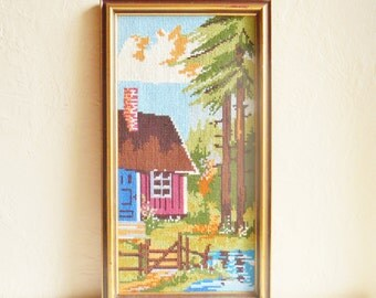 Hand Needlepoint Framed Cabin Cottage Tree Forest Nature Scene - Ready to Hang