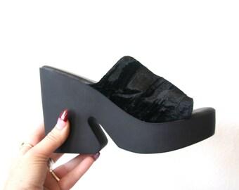 Velvet Platforms / Crushed Velvet Minimalist Sandals Mules Shoes Sz 6