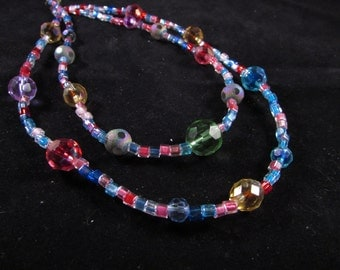 Hand beaded necklace, multi strand necklace, rainbow necklace, Hand beaded necklace 'Circus'